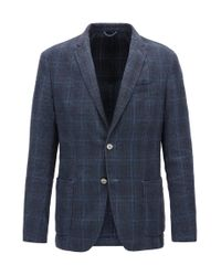 BOSS Slim-fit Jacket In Checked Cotton And Linen in Blue for Men - Lyst cbe335a62