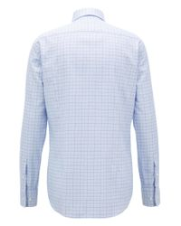 BOSS - Blue Slim-fit Shirt In Plain-check Cotton Twill for Men - Lyst