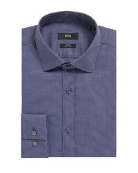 BOSS - Blue Slim-fit Shirt In Micro-dot Oxford Cotton for Men - Lyst