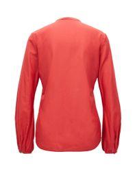 BOSS - Red Regular-fit Cotton-blend Shirt With Ruffle Trim - Lyst
