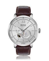 BOSS Brown Leather-strap Watch With Visible Mechanics for men