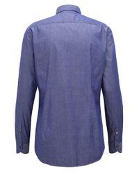 BOSS - Blue Slim-fit Stretch Twill Shirt for Men - Lyst