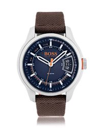 BOSS | Brushed Stainless-steel Watch With Blue Dial And Brown Fabric Band for Men | Lyst