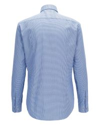 BOSS - Blue Slim-fit Shirt In Two-tone Structured Cotton for Men - Lyst