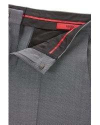 HUGO - Gray 'c-genius' | Slim Fit, Super 100 Virgin Wool Dress Pant for Men - Lyst