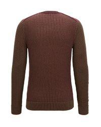 BOSS Orange - Crew-neck Sweater In Structured Cotton for Men - Lyst