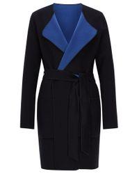 BOSS Orange - Blue Reversible Coat In Double-faced Wool Blend - Lyst