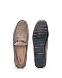 HUGO - Natural Suede Moccasins With Textured Vamp for Men - Lyst