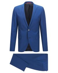 HUGO | Blue 'adris/heilon' | Extra-slim Fit, Virgin Wool Suit for Men | Lyst