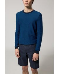 HUGO - Blue Crew-neck Sweater In Knitted Cotton Piqué for Men - Lyst
