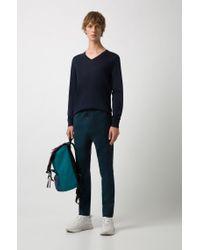 HUGO - Blue Plain Slim-fit Sweater In New-wool Blend: 'san Carlo' for Men - Lyst
