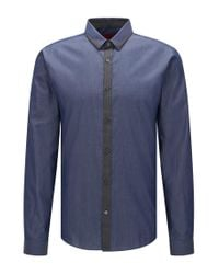 HUGO - Blue Extra-slim-fit Shirt In Mixed Denim Hues for Men - Lyst
