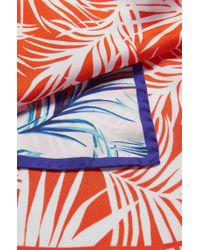 BOSS Blue Leaf-print Silk Scarf With Contrast Border