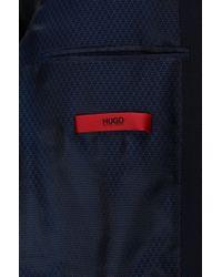 HUGO - Blue Regular-fit Technical Blend Jacket With Metal Buttons for Men - Lyst