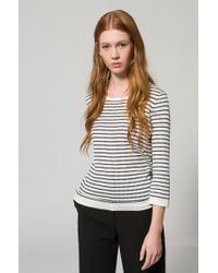 HUGO - Multicolor Boat-neck Sweater In Striped Waffle Structure - Lyst