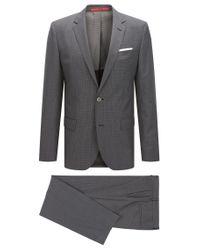 HUGO   Gray 'hutson/gander'   Slim Fit, Textured Check Virgin Wool Blend Suit for Men   Lyst