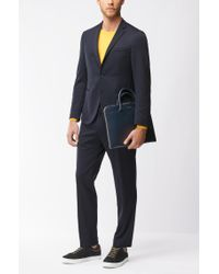 BOSS - Blue Leather Portfolio Case | Signature Folio Slim for Men - Lyst