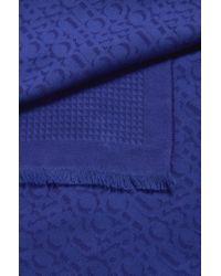 BOSS Purple Cotton-blend Scarf With Tonal Jacquard Logo