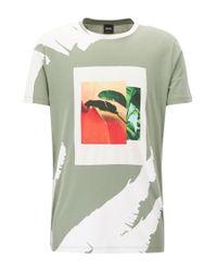 BOSS - Green Tropical-print Cotton Graphic T-shirt   Timen for Men - Lyst