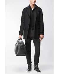 BOSS - Black Concealed-zip Neck Sweater In A Wool-cotton Blend for Men - Lyst