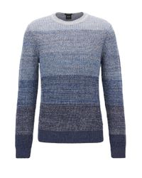 BOSS - Blue Linen-blend Sweater With Half-cardigan Structure for Men - Lyst
