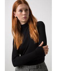 HUGO - Black Slim-fit Long-sleeved Ribbed T-shirt With Turtleneck - Lyst
