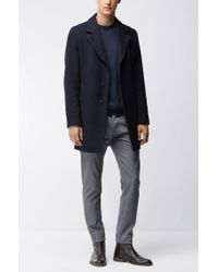 BOSS Orange | Blue Contrast-seam Knitted Sweater for Men | Lyst