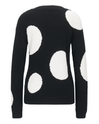 HUGO - Black Relaxed-fit Sweater In Knitted Cotton - Lyst