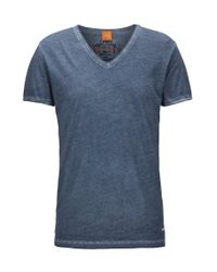 BOSS Orange - Blue Regular-fit T-shirt In Garment-dyed Cotton for Men - Lyst