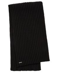 HUGO | Black Scarf In New Wool: 'zappo' for Men | Lyst