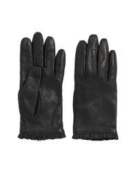HUGO | Black Leather Gloves With Flounced Border: 'dh 71' | Lyst