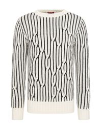 HUGO | Natural Striped Relaxed-fit Sweater In New Wool: 'sacramento' for Men | Lyst