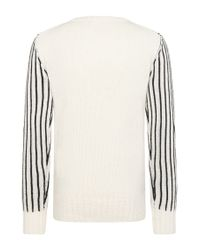 HUGO - Natural Striped Relaxed-fit Sweater In New Wool: 'sacramento' for Men - Lyst