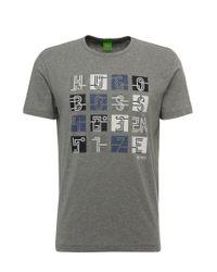 BOSS Green - Gray Regular-fit Print T-shirt In Cotton: 'tee 2' for Men - Lyst