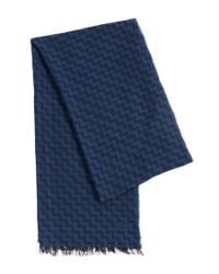 HUGO | Blue Scarf In Viscose And New Wool With Zigzag Pattern: 'men-z 502' for Men | Lyst