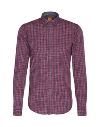 BOSS Orange   Red Slim-fit Shirt In Cotton With Checks: 'edipoe' for Men   Lyst