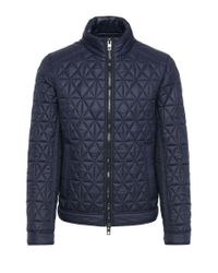 BOSS Orange | Blue Slim-fit Biker Jacket In A Padded And Quilted Fabric: 'obray' for Men | Lyst