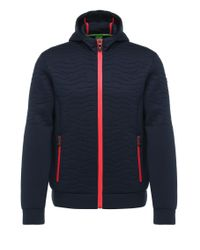BOSS Green | Blue Textured Regular-fit Hooded Jacket In Fabric Blend With Viscose: 'savel' for Men | Lyst