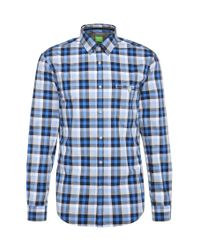 BOSS Green | Blue Checked Slim-fit Cotton Shirt: 'blumas' for Men | Lyst