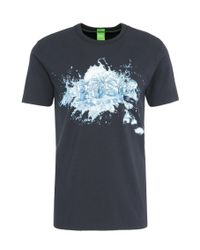 BOSS Green | Blue Regular-fit Print T-shirt In Stretchy Cotton: 'tee 8' for Men | Lyst