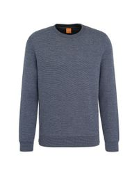 BOSS Orange | Black Sweatshirt In Textured Cotton Blend: 'wicious' for Men | Lyst