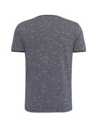 BOSS Orange - Blue Relaxed-fit T-shirt In Cotton With All-over Print: 'text' for Men - Lyst