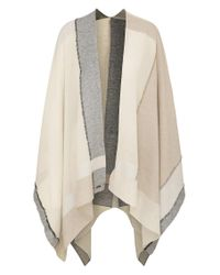 BOSS Orange   Blue Poncho In A Silk Blend With Cotton And A Colour-block Look: 'nablock'   Lyst