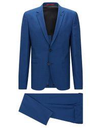 HUGO | Blue Mottled Slim-fit Suit In New Wool: 'arlid1/heilon1' for Men | Lyst