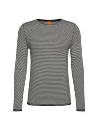 BOSS Orange | Blue Striped Sweater In Cotton Blend With Viscose And Silk: 'aleynsir' for Men | Lyst