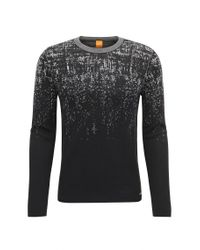 BOSS Orange | Black Slim-fit Sweater In Cotton And Silk Blend for Men | Lyst