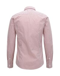 BOSS Orange - Red Striped Extra-slim-fit Shirt In Stretch Dobby for Men - Lyst