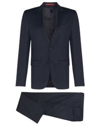HUGO | Blue Slim-fit Suit In Yarn-dyed Virgin Wool for Men | Lyst