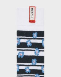 Hunter - Blue Unisex Original Floral Stripe Knitted Knee High Socks for Men - Lyst