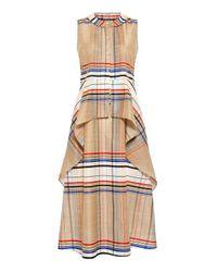 SUNO | Natural Plaid Cascade Peplum Dress | Lyst